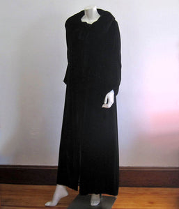 1920s Cocoon Flapper Coat Black Silk Velvet Ruching