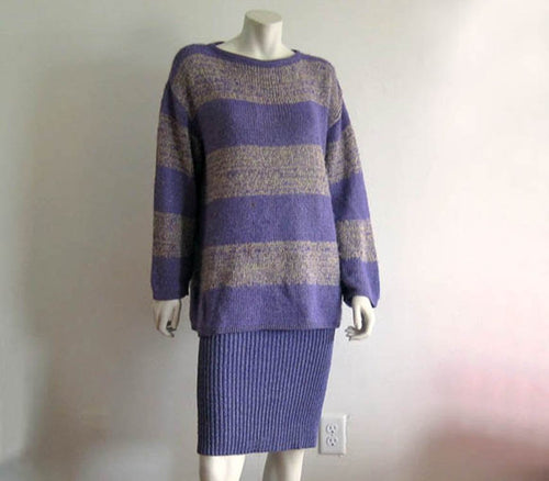 Vintage Marimekko Heathered Purple Knit Sweater Suit Marja Suna