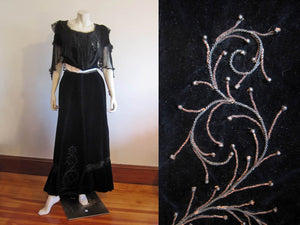 1900s Belle Epogue velvet gown, midnight blue silk velvet, silk chiffon, metal soutache