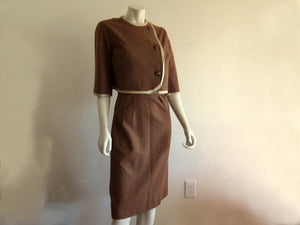 1940s Women's Tailored Skirt Suit Russet Brown Wool