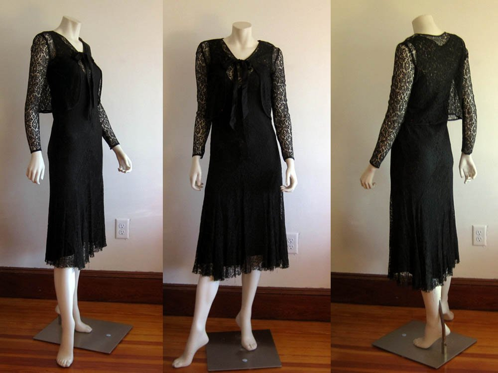 1920s 1930s Silk Dress & Matching Bolero Bias Cut Illusion Lace XS Small