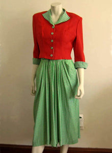 1940s Green Silk Halter Dress Paprika Cropped Jacket