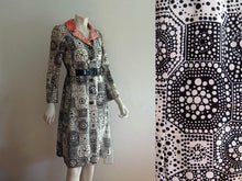 Load image into Gallery viewer, 1960s MOD Coat Dress Black White Orange Silk Jordan Marsh