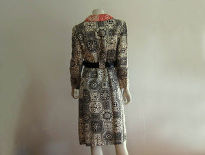 1960s MOD Coat Dress Black White Orange Silk Jordan Marsh