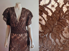 Load image into Gallery viewer, 1930s Brown Illusion Lace Dress Low V-neck gown