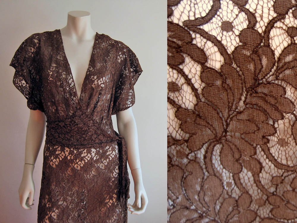 1930s Brown Illusion Lace Dress Low V-neck gown