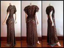 Load image into Gallery viewer, 1940s Gown 40s Brown Illusion Lace Dress