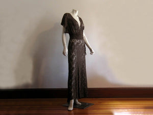 1940s Gown 40s Brown Illusion Lace Dress