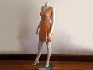1960s Mini Dress Peach Gold Silk Organza Criss-Cross Bodice