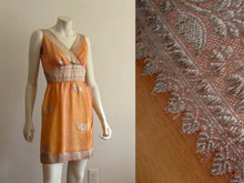Load image into Gallery viewer, 1960s Mini Dress Peach Gold Silk Organza Criss-Cross Bodice