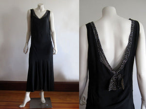 1920s Art Deco Rhinestone Black Silk Dress Plunging Open Back Gown