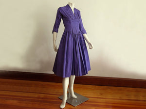 1950s Purple Taffeta Party Swing Dress Madeleine Fauth