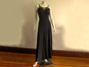 1940s Black Silk Strappy Evening Gown Colorful Celluloid Sequins