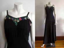 Load image into Gallery viewer, 1940s Black Silk Strappy Evening Gown Colorful Celluloid Sequins