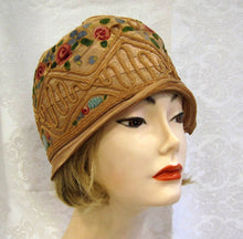 Load image into Gallery viewer, 1920s Silk Cloche Hat Hand Painted Pink Roses