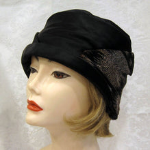 Load image into Gallery viewer, 1920s Gold Lame Cloche Hat Black Silk Satin