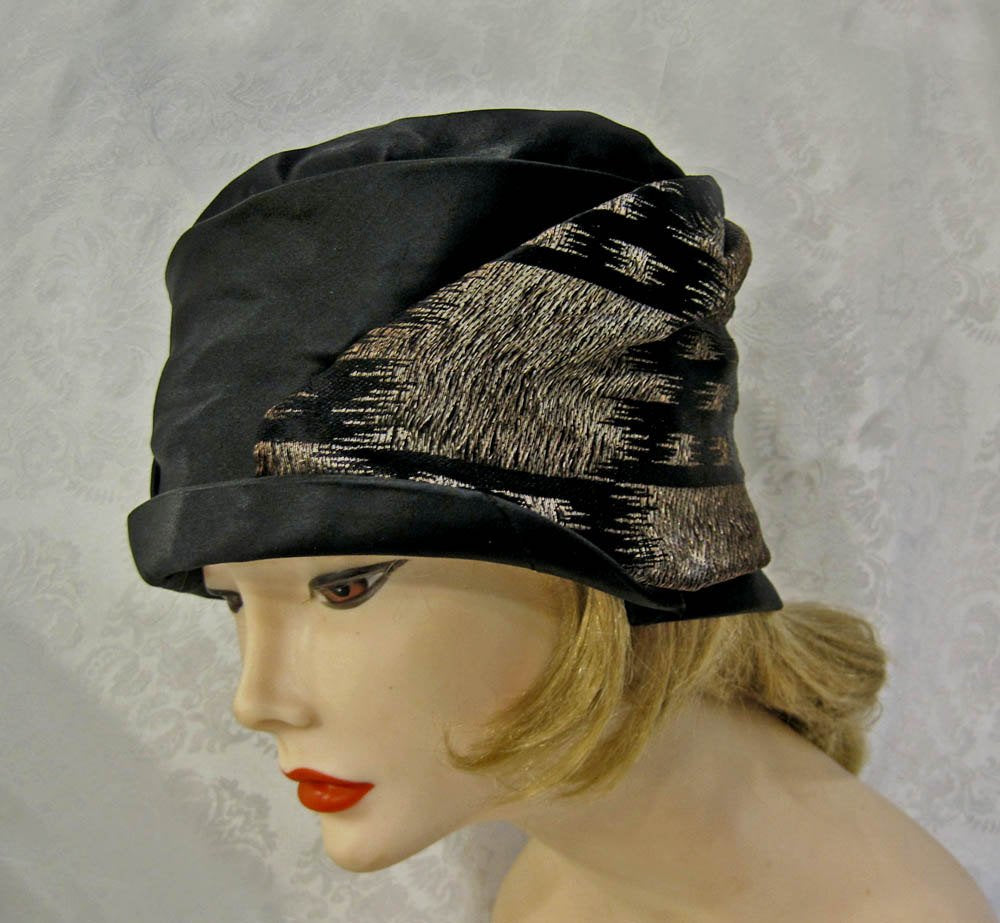 1920s Gold Lame Cloche Hat Black Silk Satin
