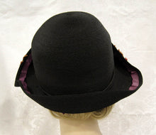 Load image into Gallery viewer, 1920s Bi-Corn Cloche Hat Black Straw Velveteen Flower Appliques