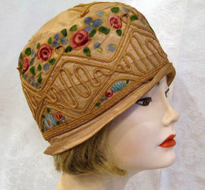 1920s Flapper Cloche Hat Hand Painted Silk Pink Roses