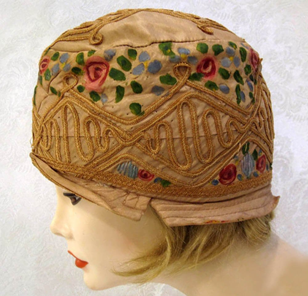 1920s Silk Cloche Hat Hand Painted Pink Roses