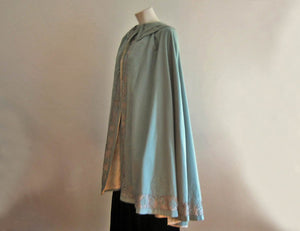 1900s Edwardian Cape Blue Wool & Metal Lace with Bumble Bees Appliques