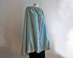 1910s Edwardian Cape Blue Wool & Metal Lace with Bumble Bees Appliques