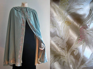 1900s Edwardian Cape Blue Wool & Metal Lace with Silk Brocade Lining
