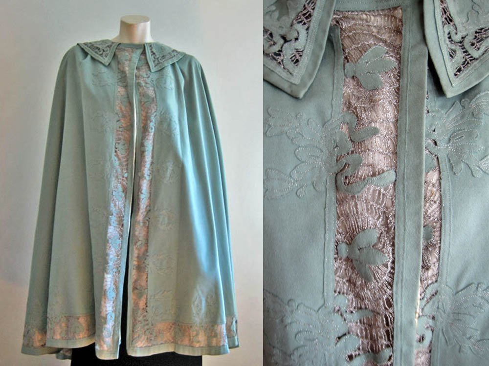 Edwardian Cape from the 1910s blue wool with metal lace, laurel leaf and bumble bee appliques