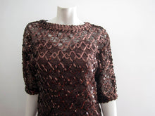 Load image into Gallery viewer, 1970s Lilli Diamond Cocktail Dress Brown Net Lace Copper Sequins