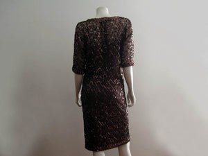 1970s Lilli Diamond Cocktail Dress Brown Net Lace Copper Sequins