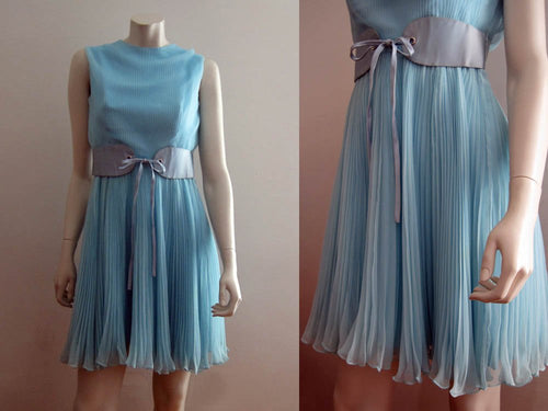 1960s Bombshell Blue Chiffon Mini Dress Sleeveless