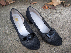 1940s Black Mesh Pumps Red Cross Shoes