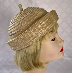 1950s Beatnik Tan Raffia Hat Voguemont Chicago New York
