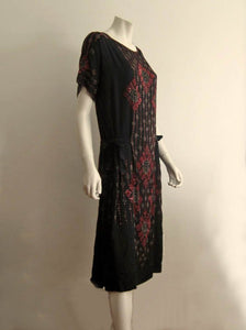 1920s Beaded Flapper Dress Red Glass Beads Black Silk