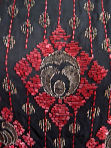 1920s Beaded Silk Flapper Dress Red Glass Geometric Beadwork