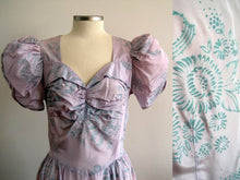 Load image into Gallery viewer, 1930s Flocked Velvet Lavender Satin Gown Mother of the Bride