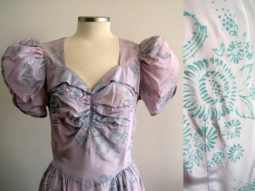 1930s Flocked Velvet Lavender Satin Gown Mother of the Bride