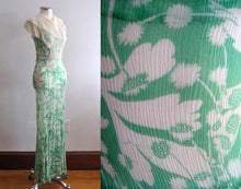 Load image into Gallery viewer, 1930s Green Floral Print Silk Chiffon Dress Attached Bib Collar Overlay