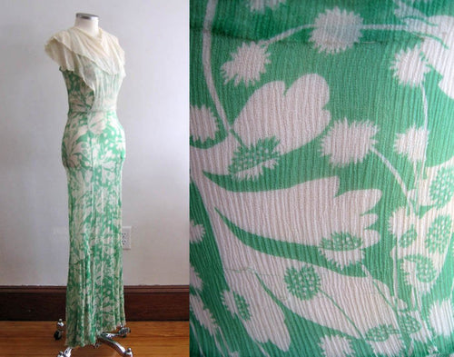 1930s Green Floral Print Silk Chiffon Dress Attached Bib Collar Overlay