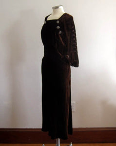 1930s Chocolate Brown Devore Velvet Dress Scallops
