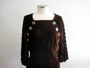 1930s Brown Liquid Velvet Dress Devore Velvet Scallops Burnout Gown