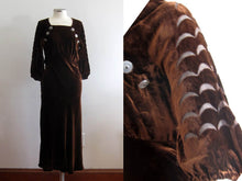 Load image into Gallery viewer, 1930s Brown Liquid Velvet Dress Devore Velvet Scallops Burnout Gown