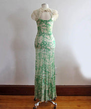 Load image into Gallery viewer, 1930s Silk Dress Floral Print Silk Sheath Gown