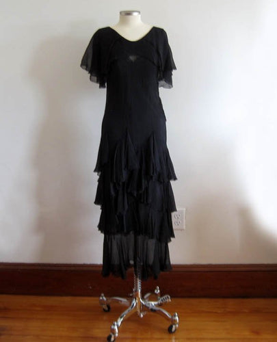 1920s Black Silk Chiffon Dropped Peplum Waist Dress