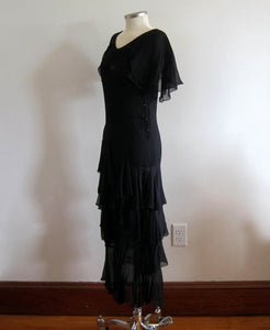 1920s Black Silk Dress Dropped Peplum Waist