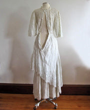 Load image into Gallery viewer, 1900s Edwardian Tea Gown Broderie Back Side View