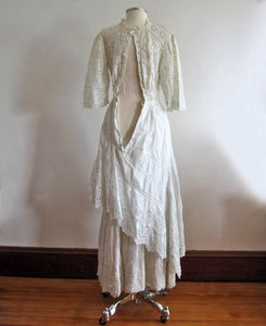 1900s Edwardian Tea Gown Broderie Back Side View