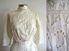 Load image into Gallery viewer, Close-Up of Edwardian Tea Gown Bodice Showing Broderie Anglais Whitework
