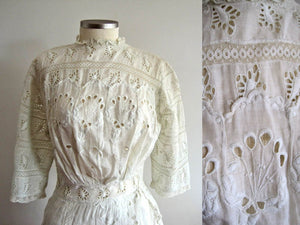 Close-Up of Edwardian Tea Gown Bodice Showing Broderie Anglais Whitework