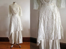 Load image into Gallery viewer, Close-Up of Edwardian Tea Gown Skirt Showing Broderie Anglais Whitework